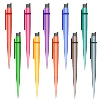 Ensemble de stylos multicolores sur fond blanc. illustration vectorielle.