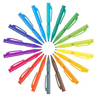 Ensemble de stylos multicolores placés dans un cercle. illustration vectorielle.