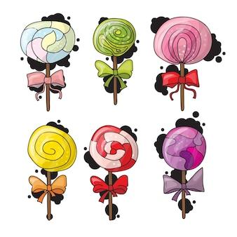 Ensemble de sucettes colorées dans un style dessiné à la main. collection de croquis de bonbons en spirale
