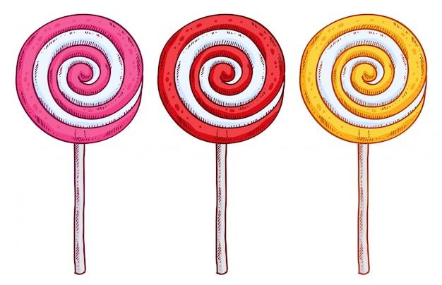 Ensemble de sucettes colorées dans un style dessiné à la main. croquis de bonbons en spirale.