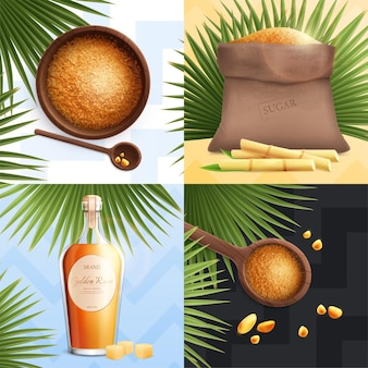 Ensemble de sucre de canne réaliste avec cuillère à rhum dorée avec cassonade et grand sac
