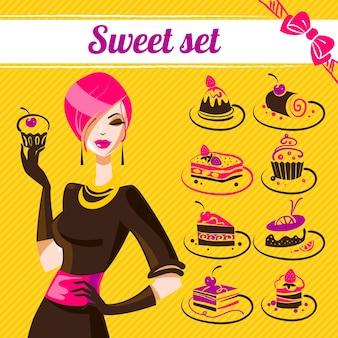 Ensemble sucré, icônes de gâteaux