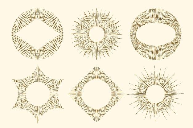 Ensemble de sunburst dessinés à la main de gravure