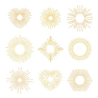 Ensemble de sunburst jaune dessiné à la main