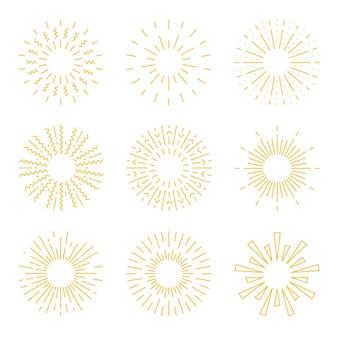 Ensemble de sunburst de style dessiné à la main