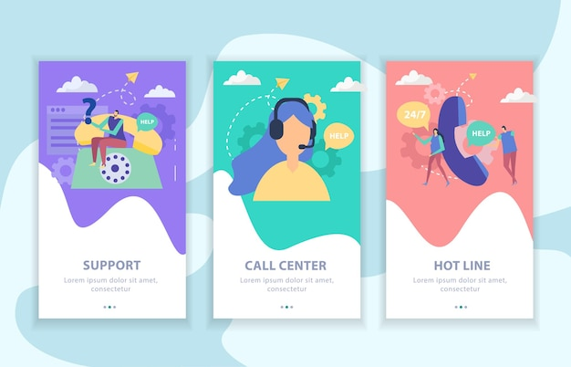 Ensemble de support client de bannières plates verticales call center et hot line illustration vectorielle isolée