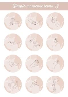 Ensemble de surlignage couvre les mains manucurées féminines