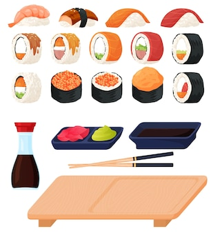 Ensemble de sushi et sashimi de différents types, sauce, wasabi, bâtonnets de sushi. illustration colorée dans un style cartoon plat.