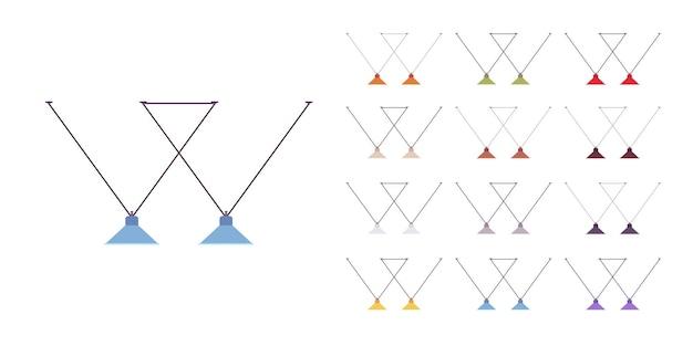 Ensemble de suspension de lampe moderne. base de plafond, luminaire suspendu pour îlot de cuisine, ambiance de maison moderne et vintage. illustration de dessin animé de style plat vecteur isolé sur fond blanc, différentes couleurs