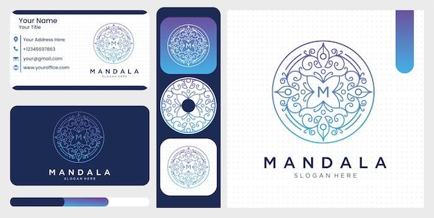 Ensemble de symbole abstrait de mandala fleur en ornement