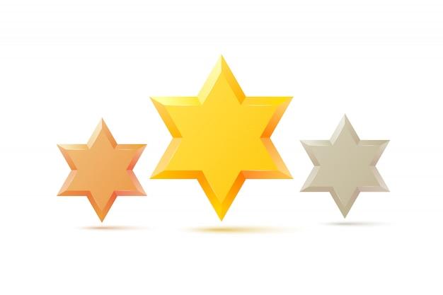 Ensemble. symbole d'étoile de david d'israël. culture religieuse juive. isolé