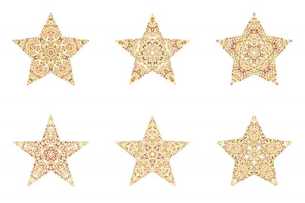 Ensemble de symbole étoile ornement floral abstrait mosaïque