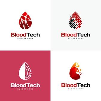 Ensemble de symbole de logo de sang de pixel, modèle de conceptions de logo de soins de santé de sang, vecteur de concept de conceptions de logo de technologie de sang