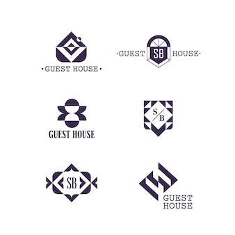 Ensemble de symboles abstraits géométriques vectoriels isolés.