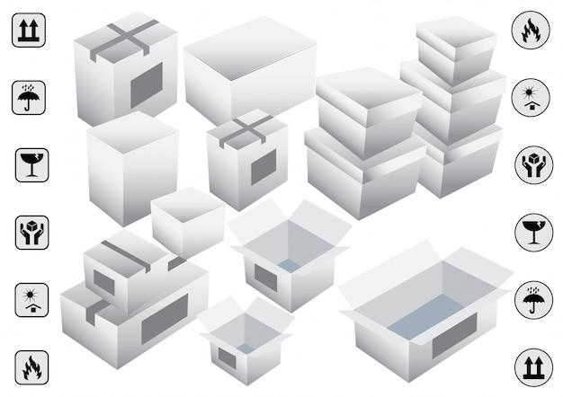 Ensemble de symboles blancs d'emballage. illustration vectorielle