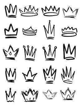 Ensemble de symboles de couronne dessinés à la main. éléments de conception pour logo, étiquette, signe, affiche, carte.