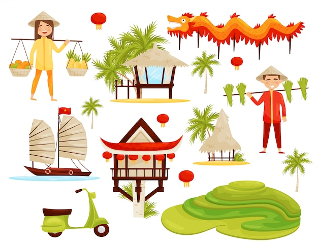 Ensemble de symboles culturels du vietnam. dragon, rizières en terrasses, architecture, transports et personnes