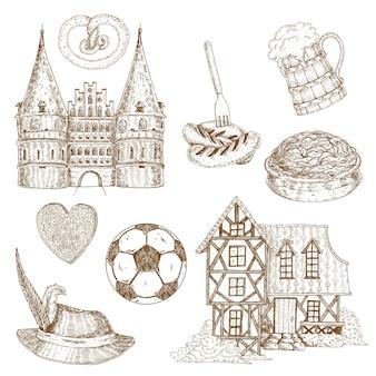 Ensemble de symboles dessinés en allemagne