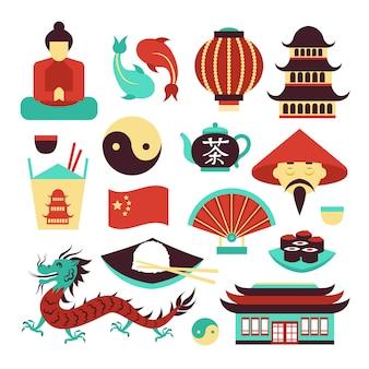 Ensemble de symboles ou d'éléments de chine