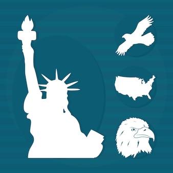 Ensemble de symboles emblématiques des états-unis