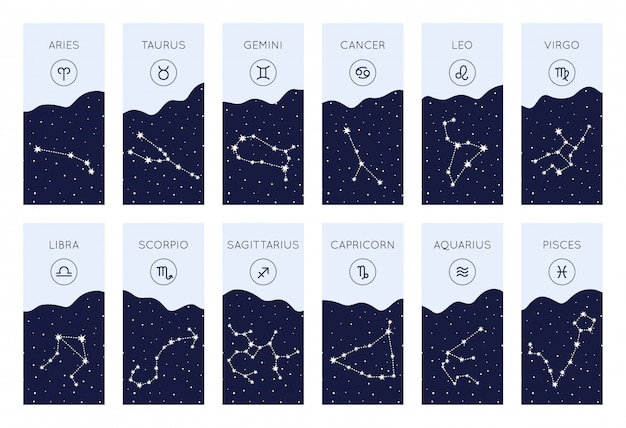 Ensemble de symboles horoscope. collection de constellations du zodiaque