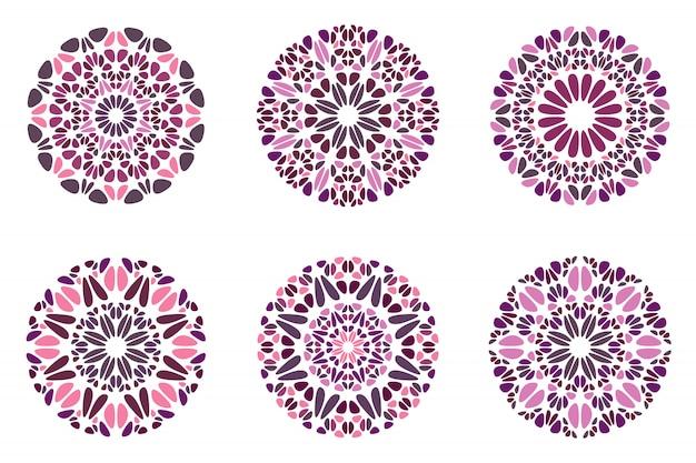 Ensemble de symboles de mandala en pierre abstraite colorée ronde