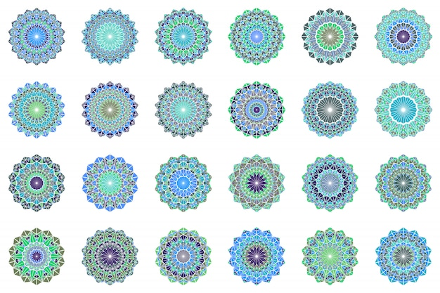 Ensemble de symboles mandala rond triangle géométrique