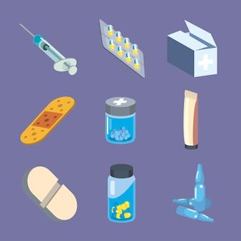 Ensemble de symboles médicaux et médicaux