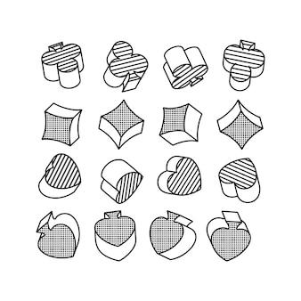 Ensemble de symboles en noir et blanc de cartes à jouer