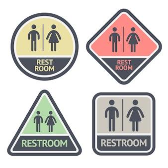 Ensemble de symboles plat de toilettes