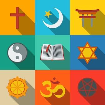 Ensemble de symboles de religion mondiale