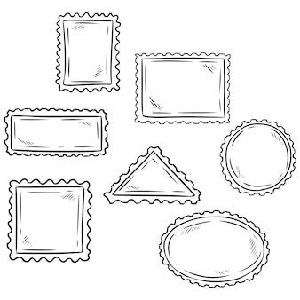 Ensemble de symboles de timbres poste fragmentaires dessinés à la main