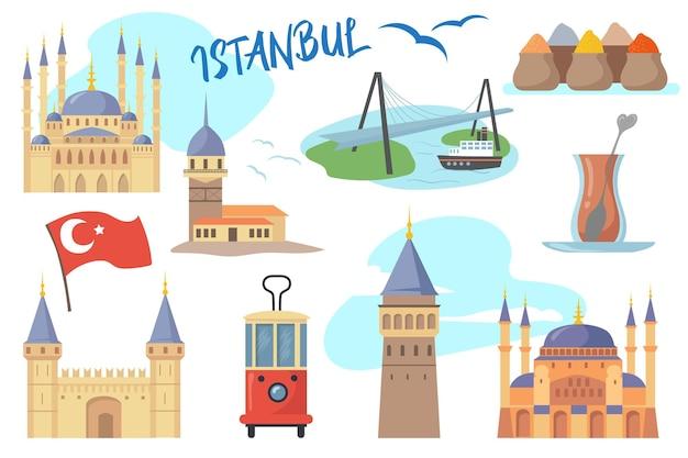 Ensemble de symboles traditionnels d'istanbul