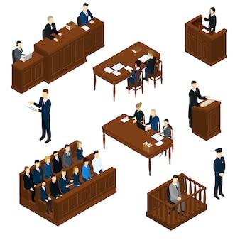 Ensemble de système judiciaire de personnes isométrique