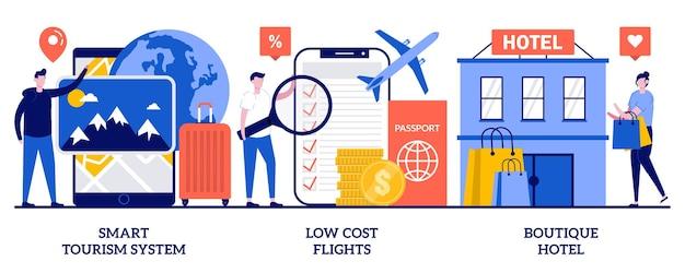 Ensemble de système de tourisme intelligent, vols à bas prix, hôtel de charme, expérience de voyage