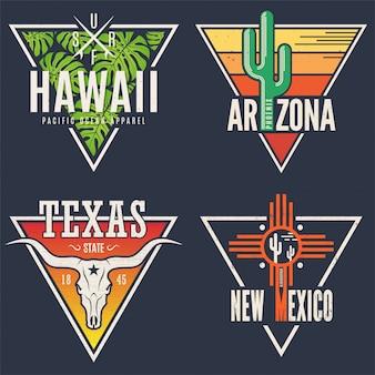 Ensemble de t-shirts hawaï arizona texas nouveau-mexique.