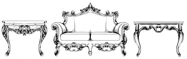 Ensemble de table basse riche baroque