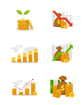 Ensemble de tableau financier d'entreprise