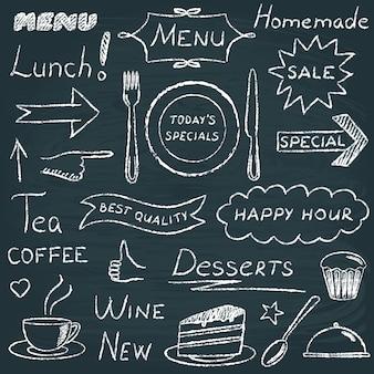 Ensemble de tableau noir d'éléments de conception de menus