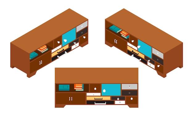 Ensemble de tables d'appoint isométriques avec beaucoup de tiroirs