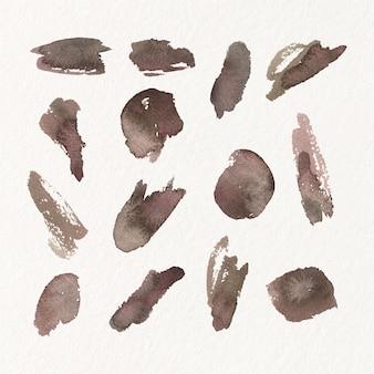 Ensemble de taches d'aquarelle peintes à la main