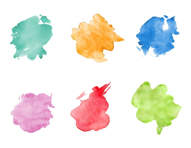 Ensemble de taches aquarelle. taches colorées lumineuses réalistes.