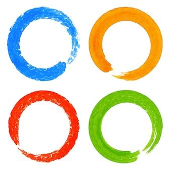 Ensemble de taches de cercle grunge aquarelle coloré, illustration
