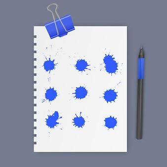Ensemble de taches d'encre de couleur bleue, gouttes d'encre illustration vectorielle