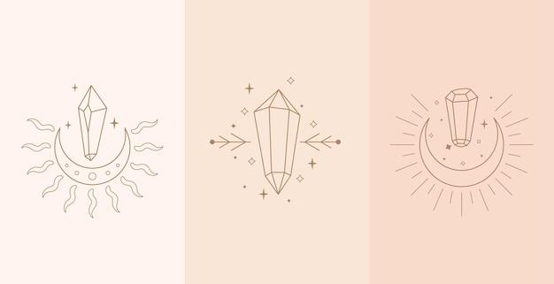 Ensemble de talisman céleste avec mains de femme et cristal