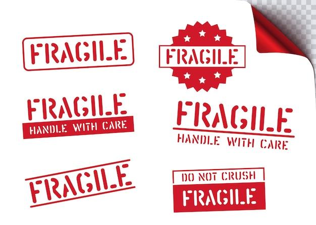 Ensemble de tampons en caoutchouc propre logistique pour le fret et la logistique. fragile, par ici, manipulez avec soin le signe de la boîte d'autocollants rétro.