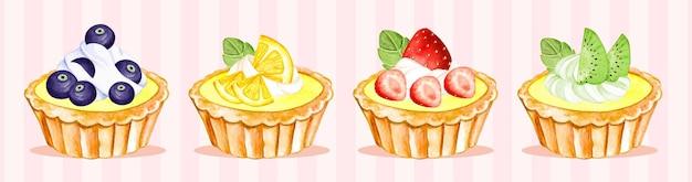 Ensemble de tartelettes aux fruits aquarelle