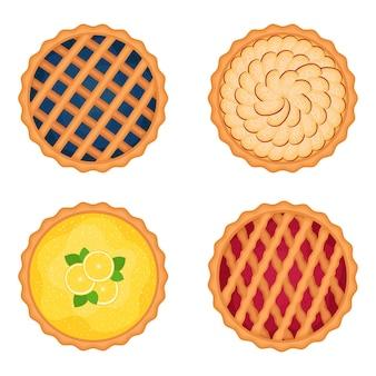 Ensemble de tartes sucrées, illustration vectorielle