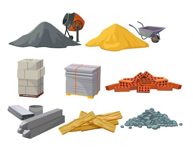 Ensemble de tas de matériaux de construction