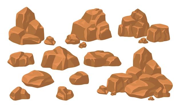 Ensemble de tas de pierres de roche